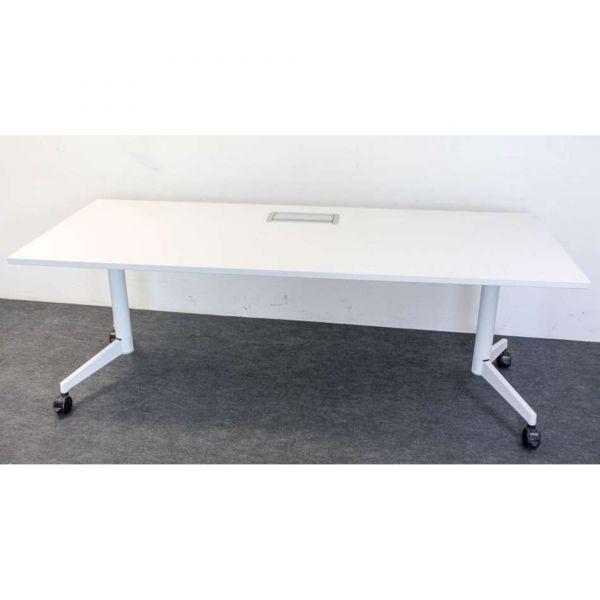 Steelcase Besprechungstisch Platte Weiß 200 x 80cm auf Rollen klappbar