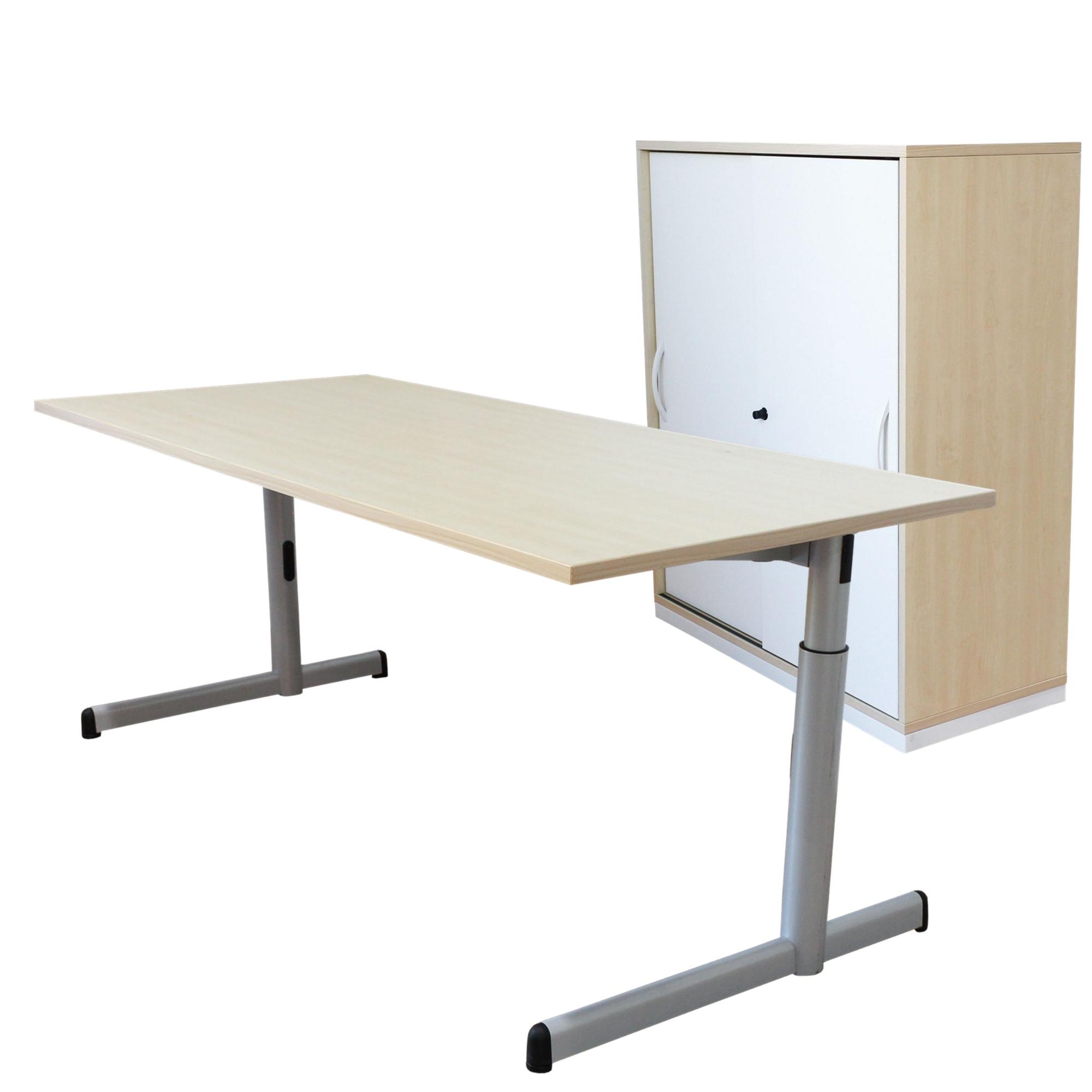 Steelcase arbeitsplatzkombination schreibtisch sideboard for Schreibtisch aus ahorn