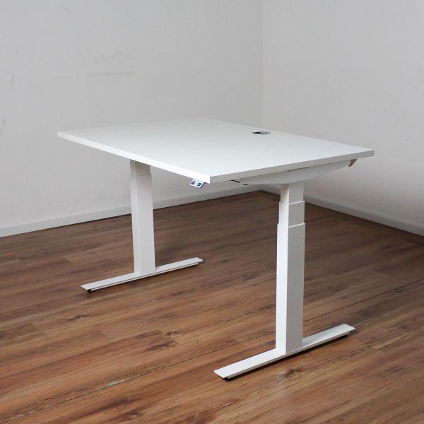 E-Schreibtisch Cloud - 120x80cm in weiß - T-Fußgestell weiß - NEUWARE