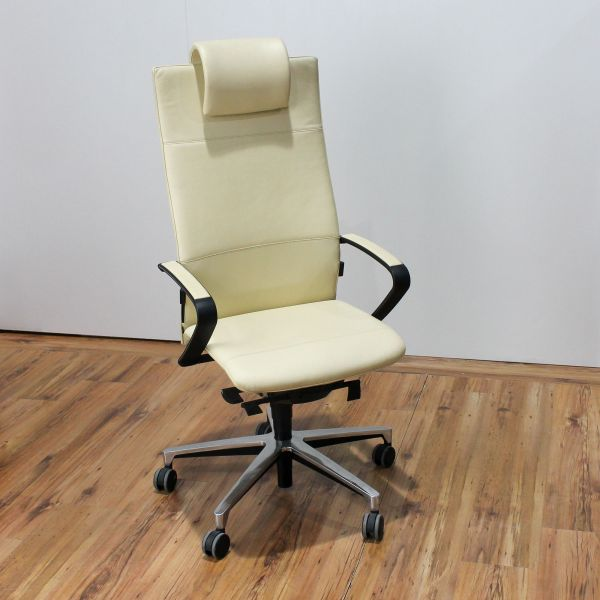 Klöber Ciello Bürodrehstuhl hohe Rückenlehne Leder Beige mit Kopfstütze