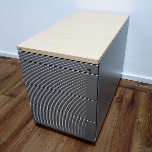 Sedus Rollcontainer 4 Laden - Korpus silber - Deckplatte ahorn