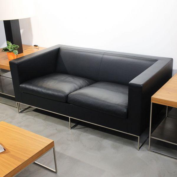 Minotti Klee 2-Sitzer Sofa - Leder schwarz - by Rodolfo Dordoni