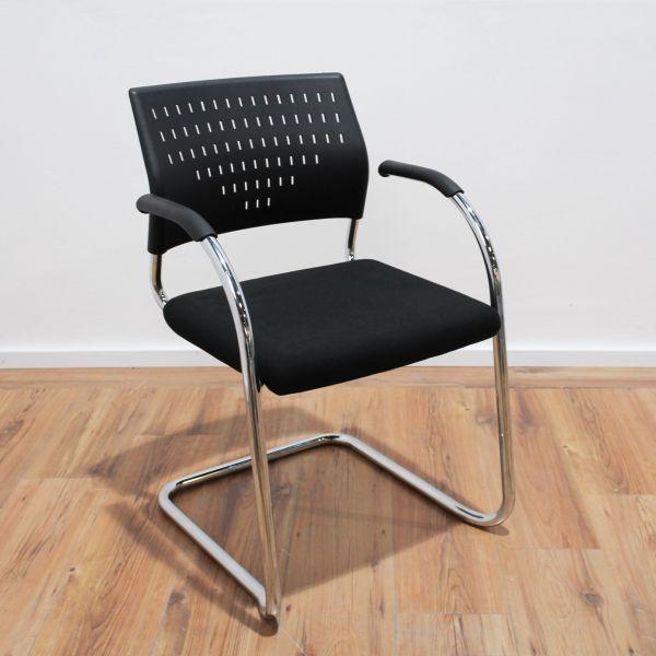 Klöber Besucherstuhl - Kunststoff in schwarz - Gestell chrom - stapelbar
