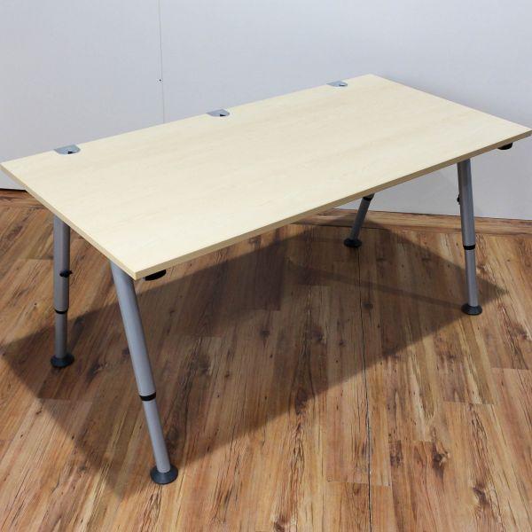 Vario Schreibtisch Ahorn 160 x 80 cm Gestell Silber | Schreibtisch ...