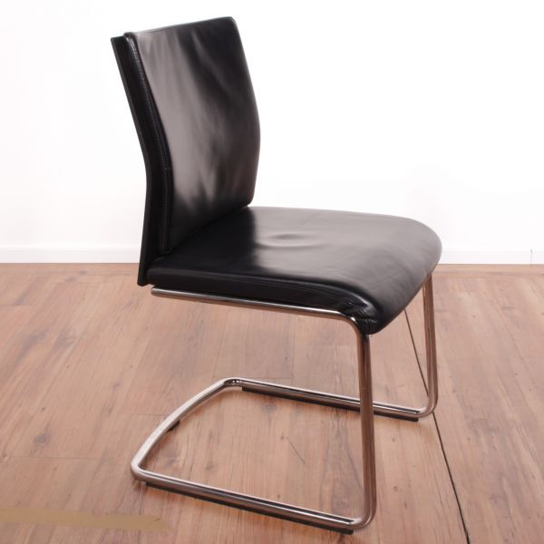 Steelcase Konferenzstuhl - Leder in schwarz - Gestell chrom