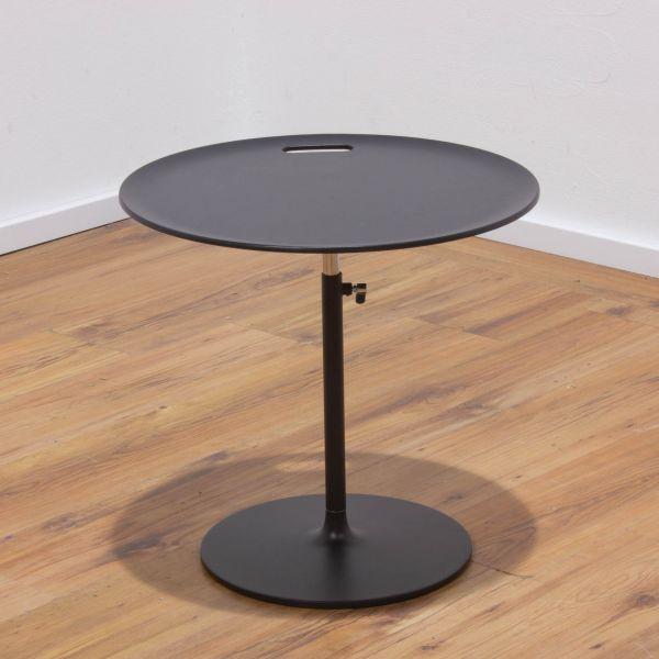 Vitra Rise Beistelltisch Ø50cm schwarz - Tellerfuß schwarz - höhenverstellbar