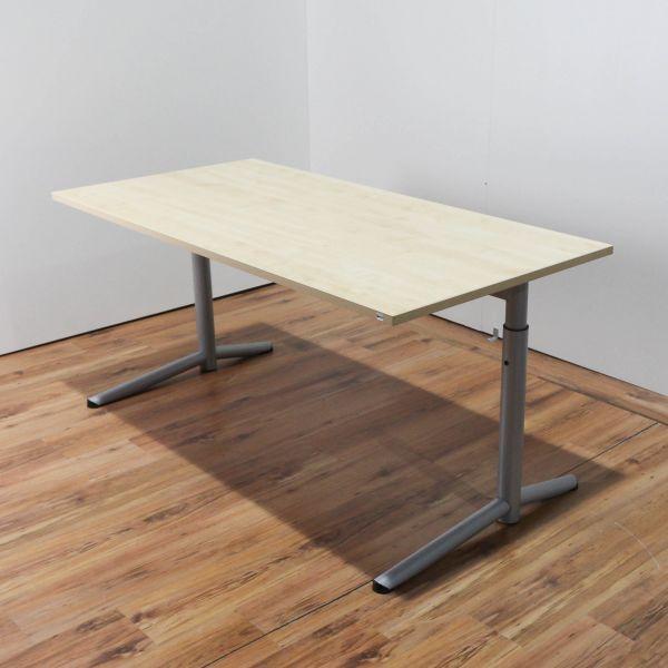 OKA Schreibtisch - 160x80cm in ahorn - Gestell C-Fuß silber