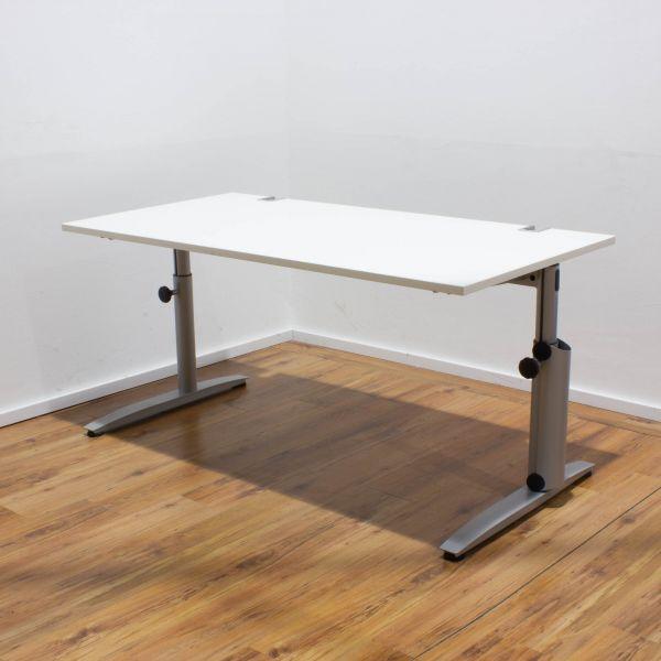 Ceka Schreibtisch 160 x 80 cm lichtgrau - Gestell silber