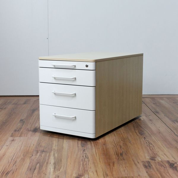 Steelcase Rollcontainer Korpus Ahorn 4 Schubladen Weiß