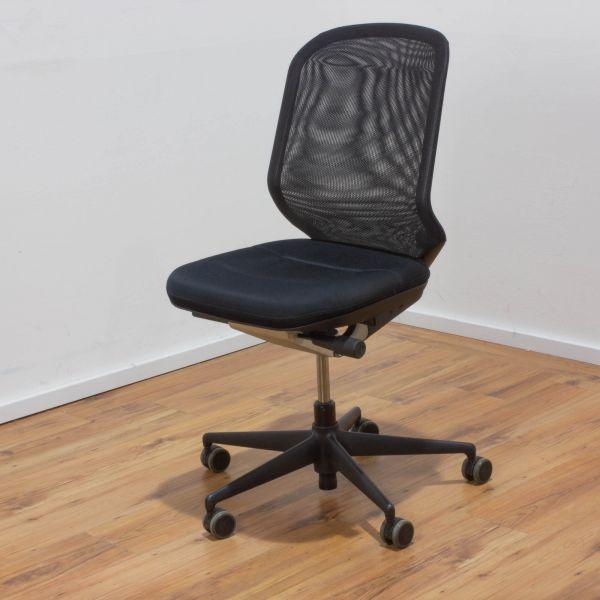 Vitra Bürodrehstuhl Stoff schwarz - Netzrücken schwarz - Gestell schwarz