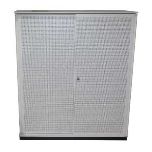 Bene Sideboard 3OH - Korpus in weiß - Akustik-Schiebetür weiß