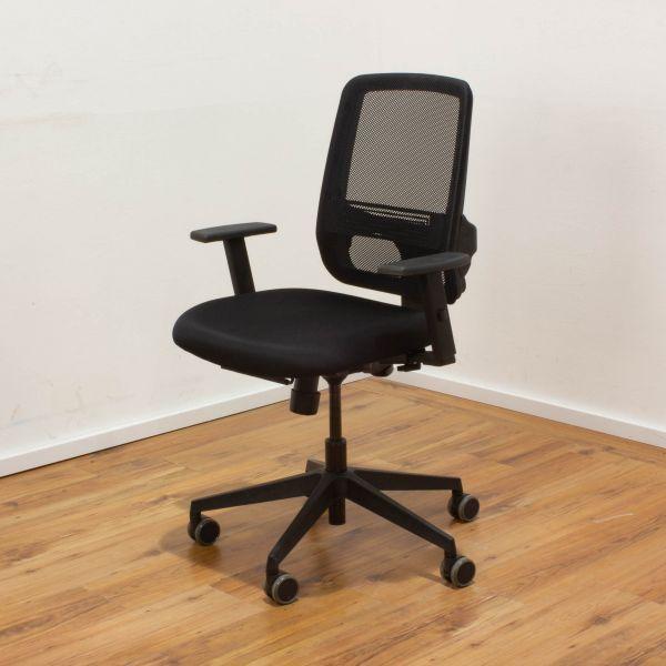 Bürodrehstuhl Stoff schwarz - Netzrücken schwarz