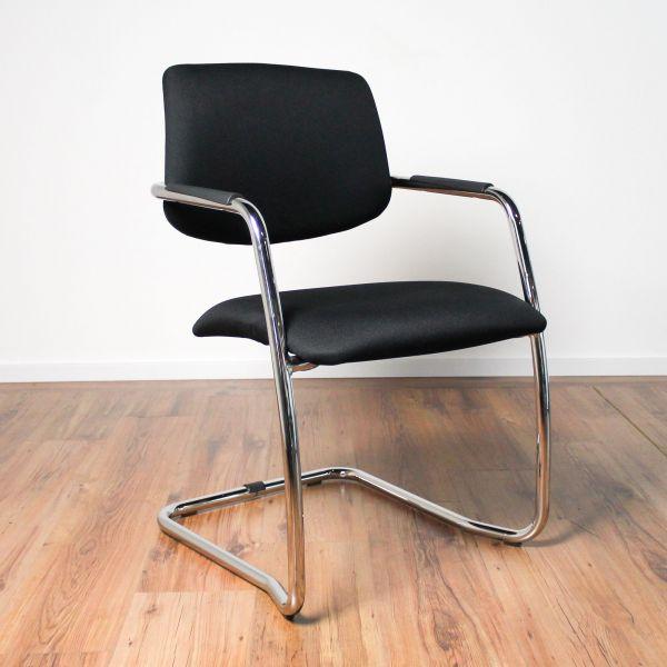 LD Seating Freischwinger - Stoff schwarz - Gestell chrom