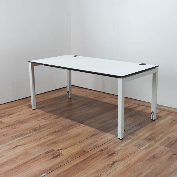 Samas Schreibtisch Weiß 160x80cm Tischkante Schwarz 4-Fuß Gestell höhenverstellbar