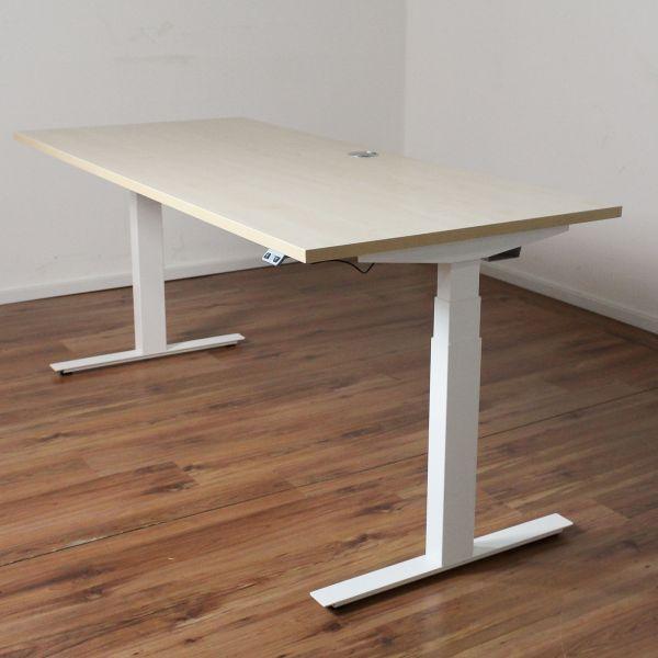E-Schreibtisch Cloud - 180x80cm in ahorn - T-Fußgestell weiß - NEUWARE