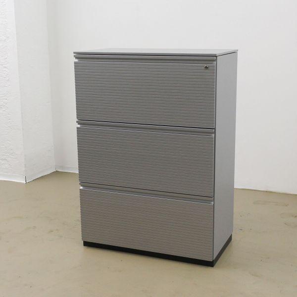 Bene Hängeregister-Sideboard 3OH Silber Profilfront