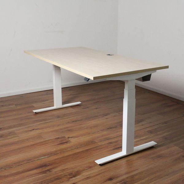 E-Schreibtisch Cloud - 160x80cm in ahorn - T-Fußgestell weiß - NEUWARE
