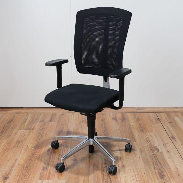 Sitag Bürodrehstuhl Bezug Netzrücken höhenverstellbar Stoff Schwarz Chrom Gestell
