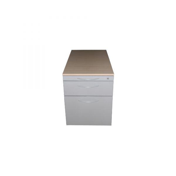 Steelcase Rollcontainer Korpus Silber Deckplatte Ahorn