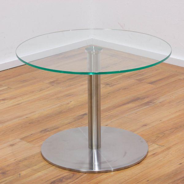 Beistelltisch Glas - Ø70 cm - Tellerfuß silber