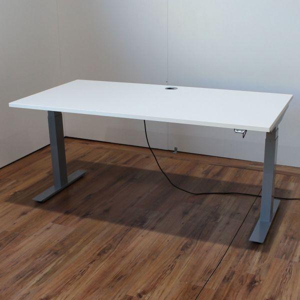 E-Schreibtisch Cloud - 160x80cm in weiß - T-Fußgestell silber - NEUWARE