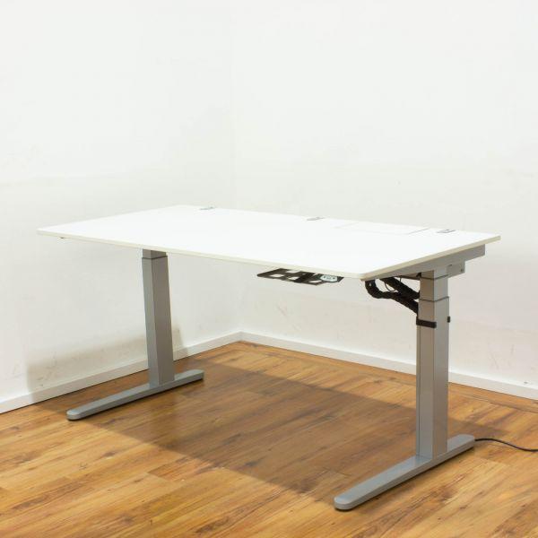 VS Serie 1000 elektr. Schreibtisch - 160x80 Platte weiß Gestell silber