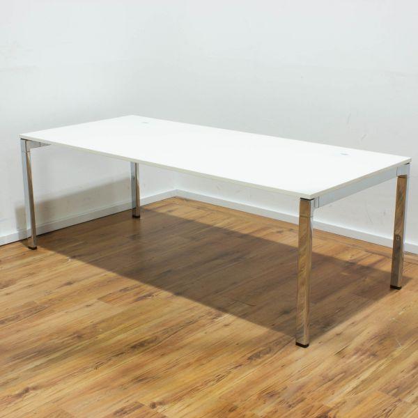 """Wiesner Hager Schreibtisch """"Concept Veron"""" - 180 x 80 cm weiß - Gestell chrom"""