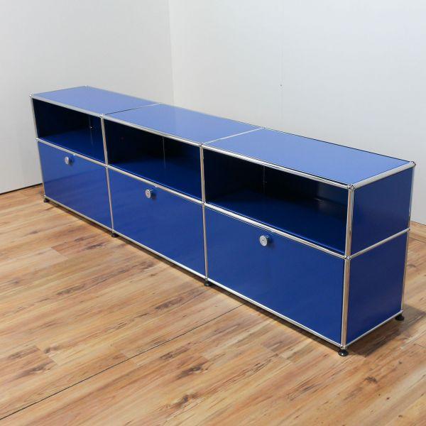 USM Haller Sideboard 2OH 6 Felder 3x Klappe Enzianblau