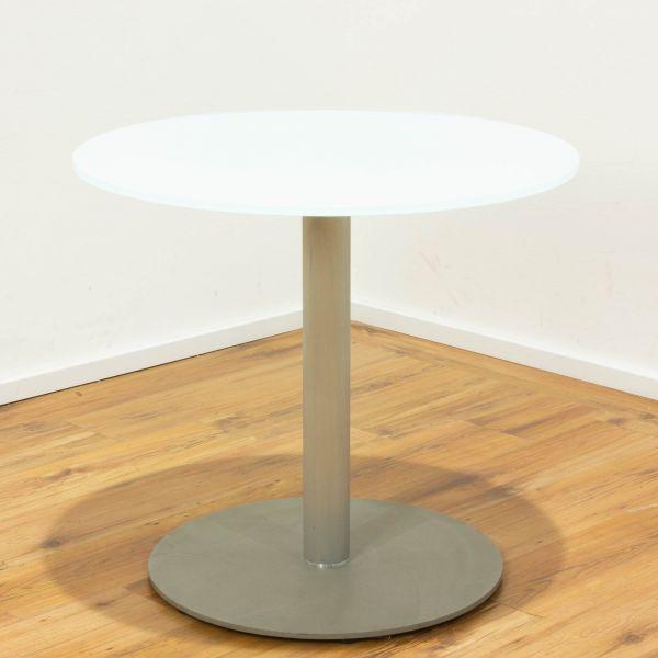 Besuchertisch Ø 80cm - weiß Glas - Säulenfuß silber
