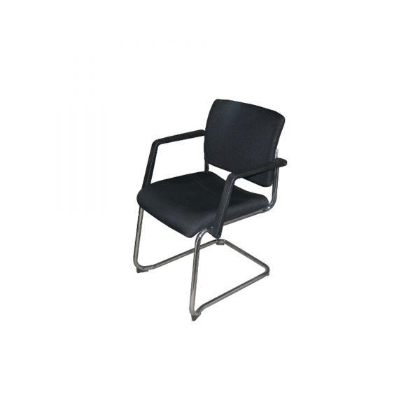Trend Office Besucherstuhl - Stoff in schwarz - Gestell chrom
