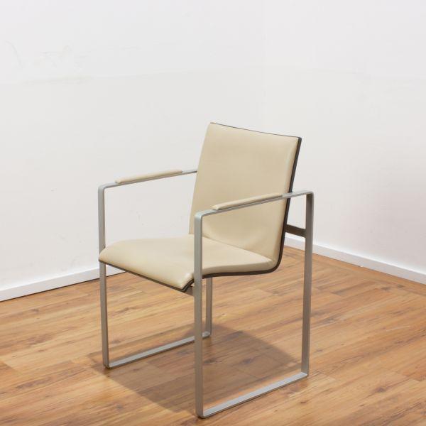 Weko Besucherstuhl Deluxe Leder beige mit Sitzschale Holz