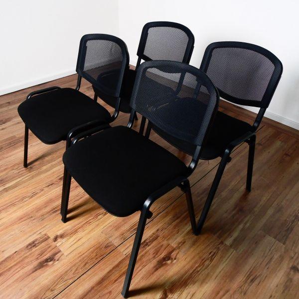 Besucherstuhl stapelbar - Netzrücken grobmaschig schwarz - Stoff schwarz - 4er Set