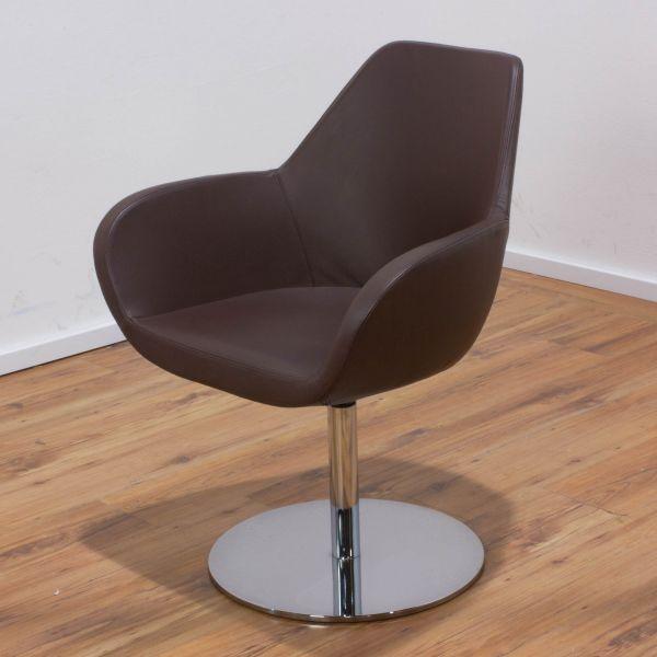 Profim Sessel - Leder braun - Tellerfuß chrom