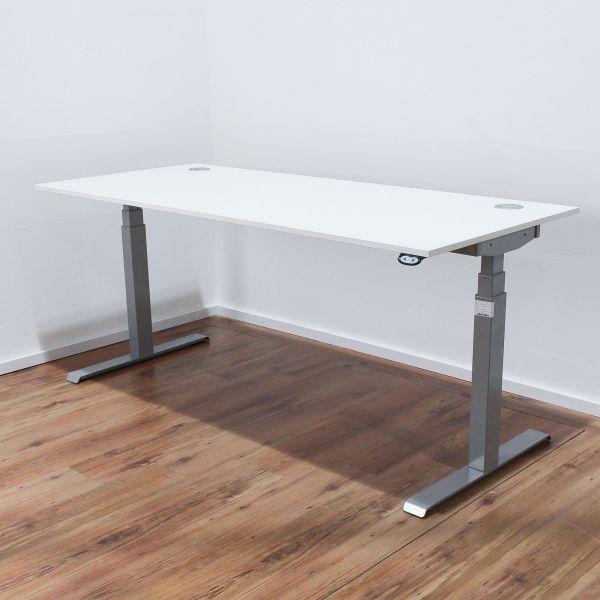 Schreibtisch 180x80cm weiß - elektr. höhenverstellbar - T-Fuß silber
