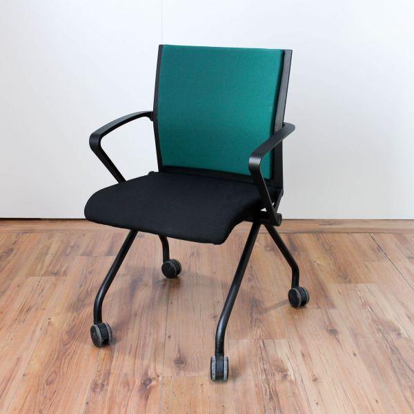 Steelcase Konferenzstuhl Stoff dunkel Grün aus Rollen klappbar