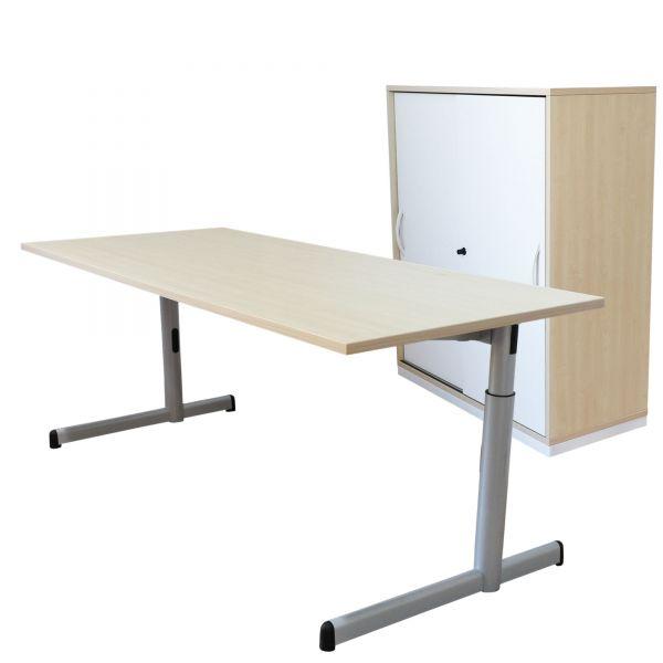 Steelcase Arbeitsplatzkombination Schreibtisch + Sideboard in Ahorn