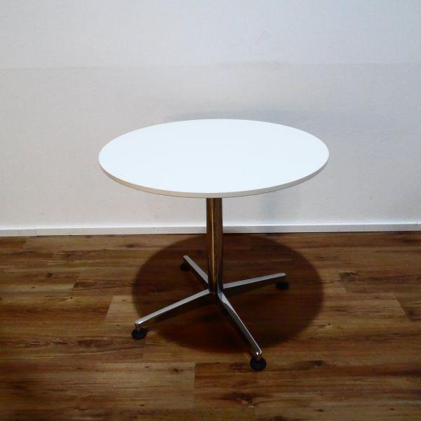 Sedus Meet Table Bistrotisch - Platte weiß - Ø 80 cm - Gestell chrom