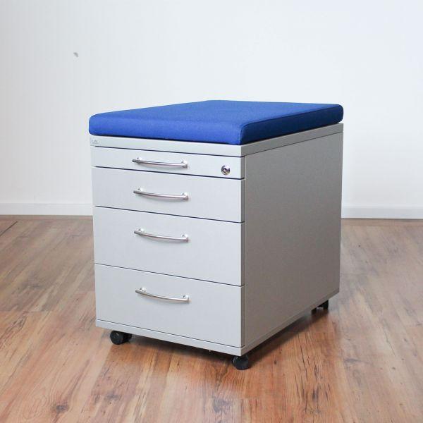 Sedus Rollcontainer 4-Laden Korpus silber - Sitzkissen blau