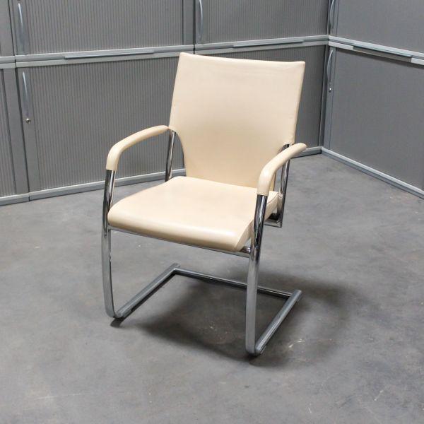 Brunner Besucherstuhl - Leder in beige - Gestell chrom