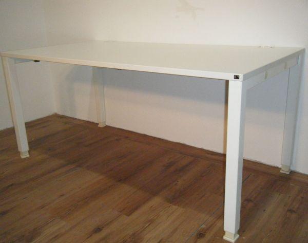 """König & Neurath Schreibtisch """"Basic 4"""", 160x80 cm in weiß, 4-Fuß Gestell weiß, höhenverstellbar"""