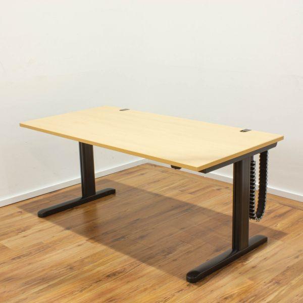 Schreibtisch elektrisch höhenverstellbar buche - 160x80 cm - Gestell anthrazit