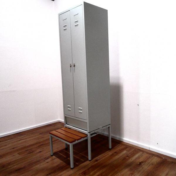 Spind lichtgrau Metall Garderobenschrank 2-türig mit ausziehbarer Sitzbank - OVP