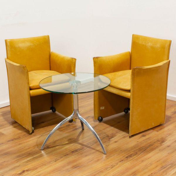 Cassina Sessel Set - Leder beige im Used-Look und Glastisch