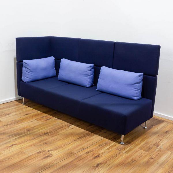 Sedus Sopha Couchelement- Ecke - 3-Sitzer - Stoff -blau - Chromfüsse