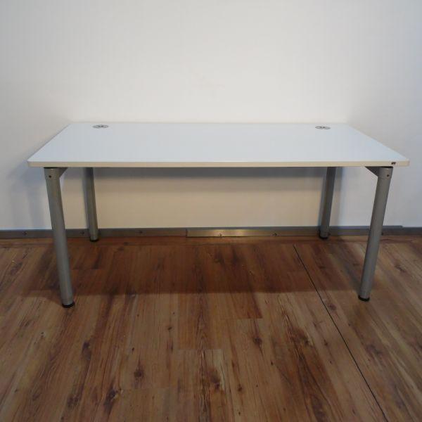 VS Schreibtisch - 160x80cm in lichtgrau - 4-Fußgestell silber