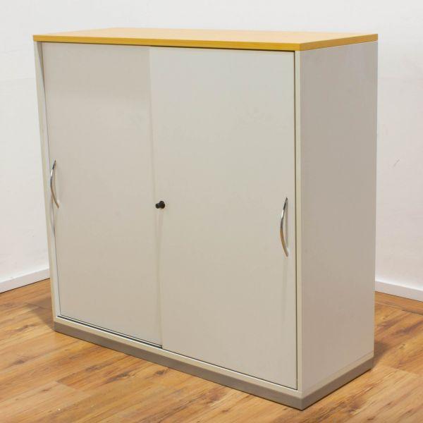 Steelcase Sideboard 3OH weiß/eiche - Korpus weiß - Schiebetüren weiß