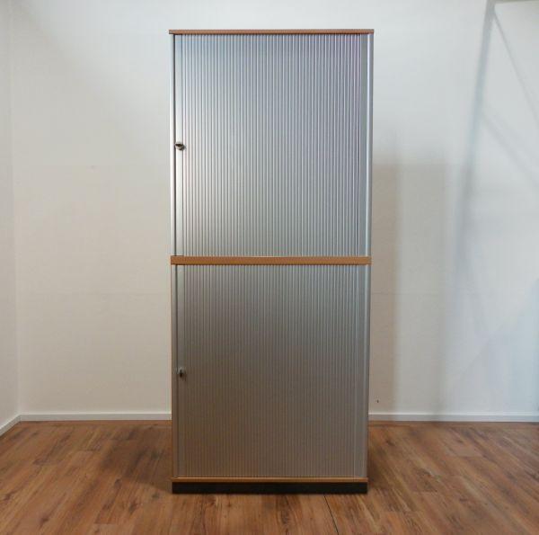 Gesika Aufsatz-Sideboard 6OH - Korpus Buche - Querrolladen silber - 100 cm breit