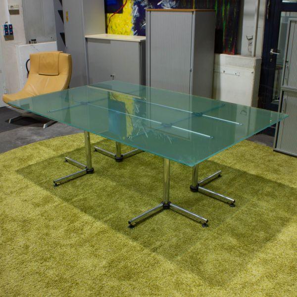USM Haller Kitos Konferenztisch - Glasplatte 250 x 150cm Mattglas