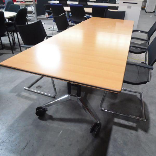 Konferenztisch - 260x90 cm in buche - Gestell chrom