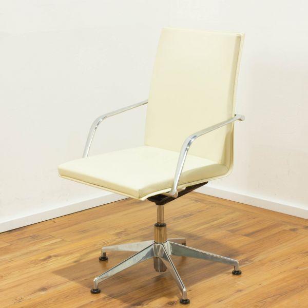 Matteo Grassi Konferenzstuhl Leder in beige - drehbar mit Rückholfunktion